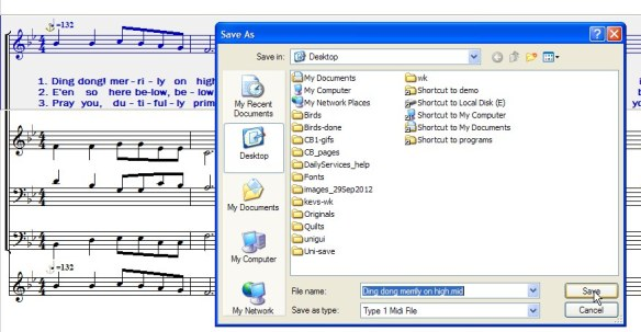 Exporting midi file from Noteworthy Composer