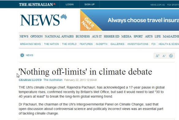 The Australian -Climate NO climate Change